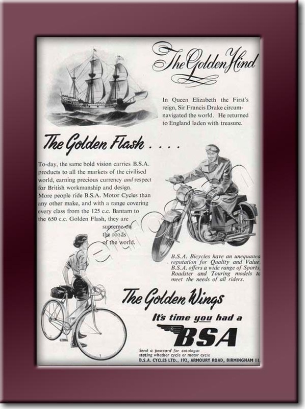 1953 BSA Cycles - framed preview - Vintage Ad