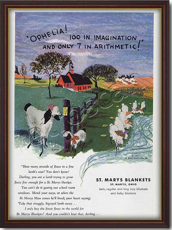1952 vintage St Mary's Blankets advert