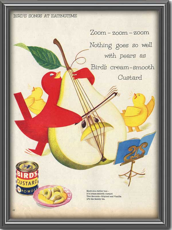 1956 Birds Custard Powder with red bird playing fruit cello vintage ad
