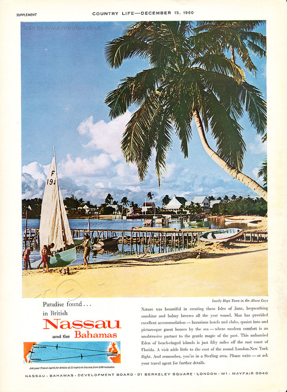 1960 Nassau and the Bahamas - unframed vintage ad