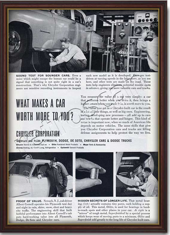 1952 vintage Chrysler ad