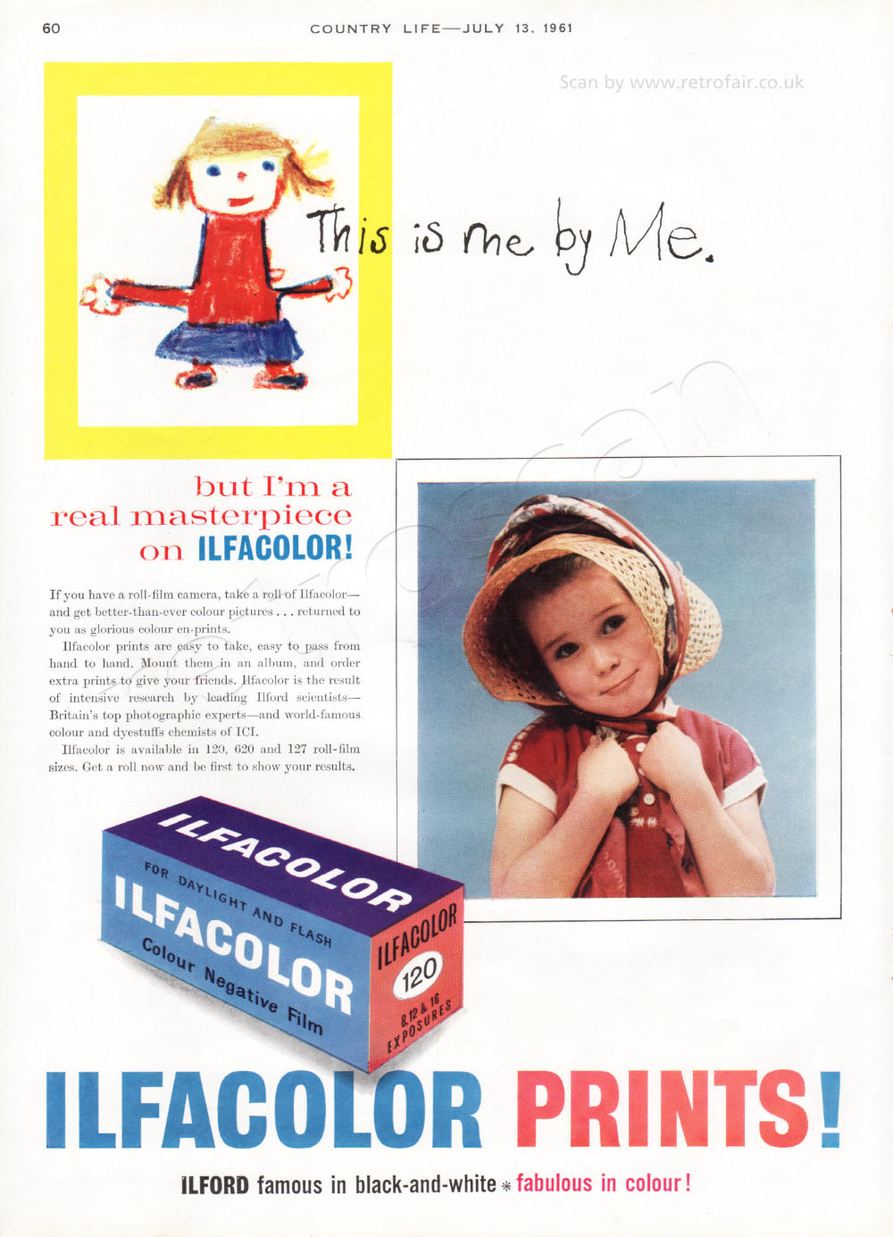 1961 Ilford Colour Prints - unframed vintage ad