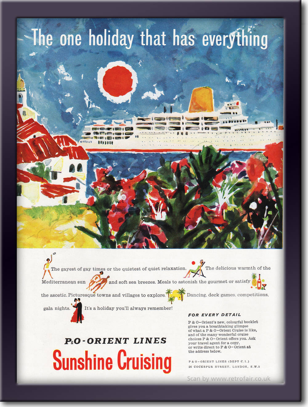 1961 P & O Orient - framed preview retro