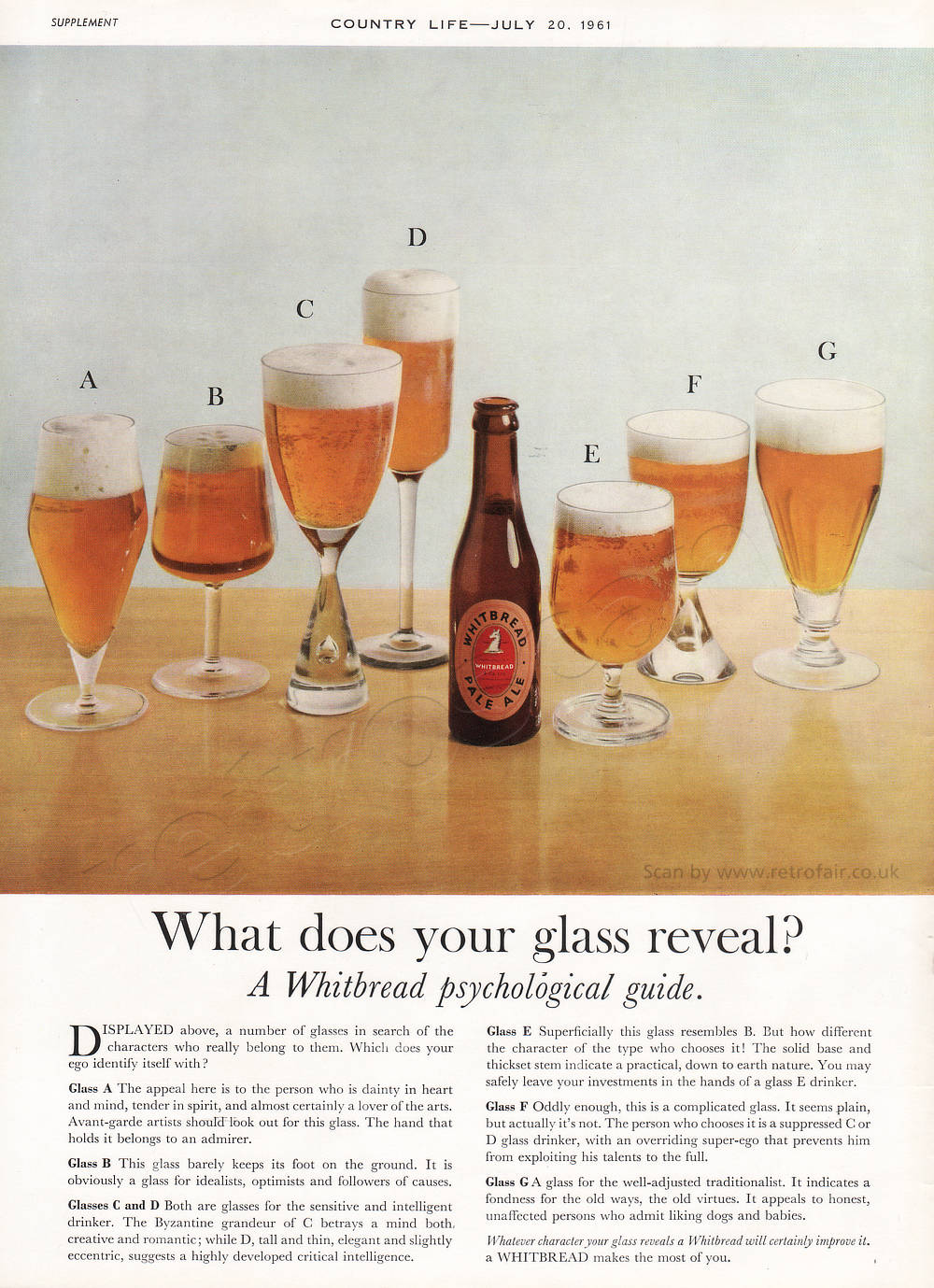 1961 Whitbread Pale Ale - unframed vintage ad