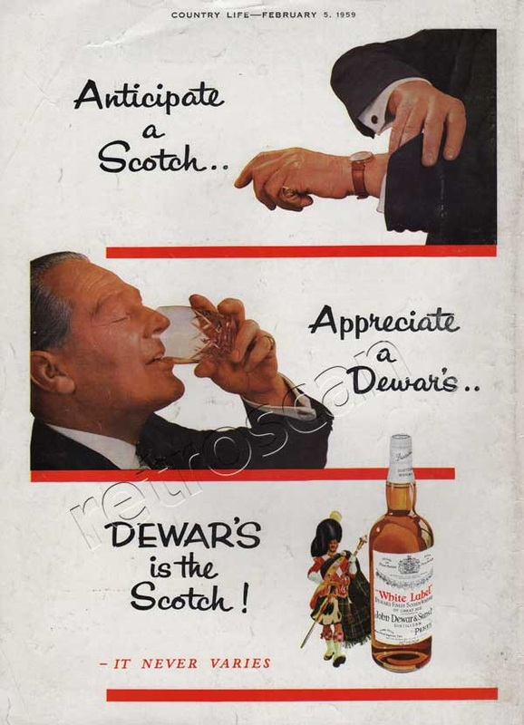 1959 Dewar's White label Scotch Whisky vintage advert