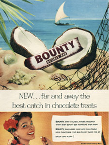 1954 Bounty Bar sailing boat - vintage ad