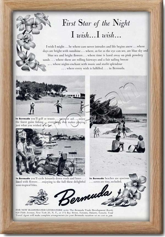 1949 vintage Bermuda Tourism advert