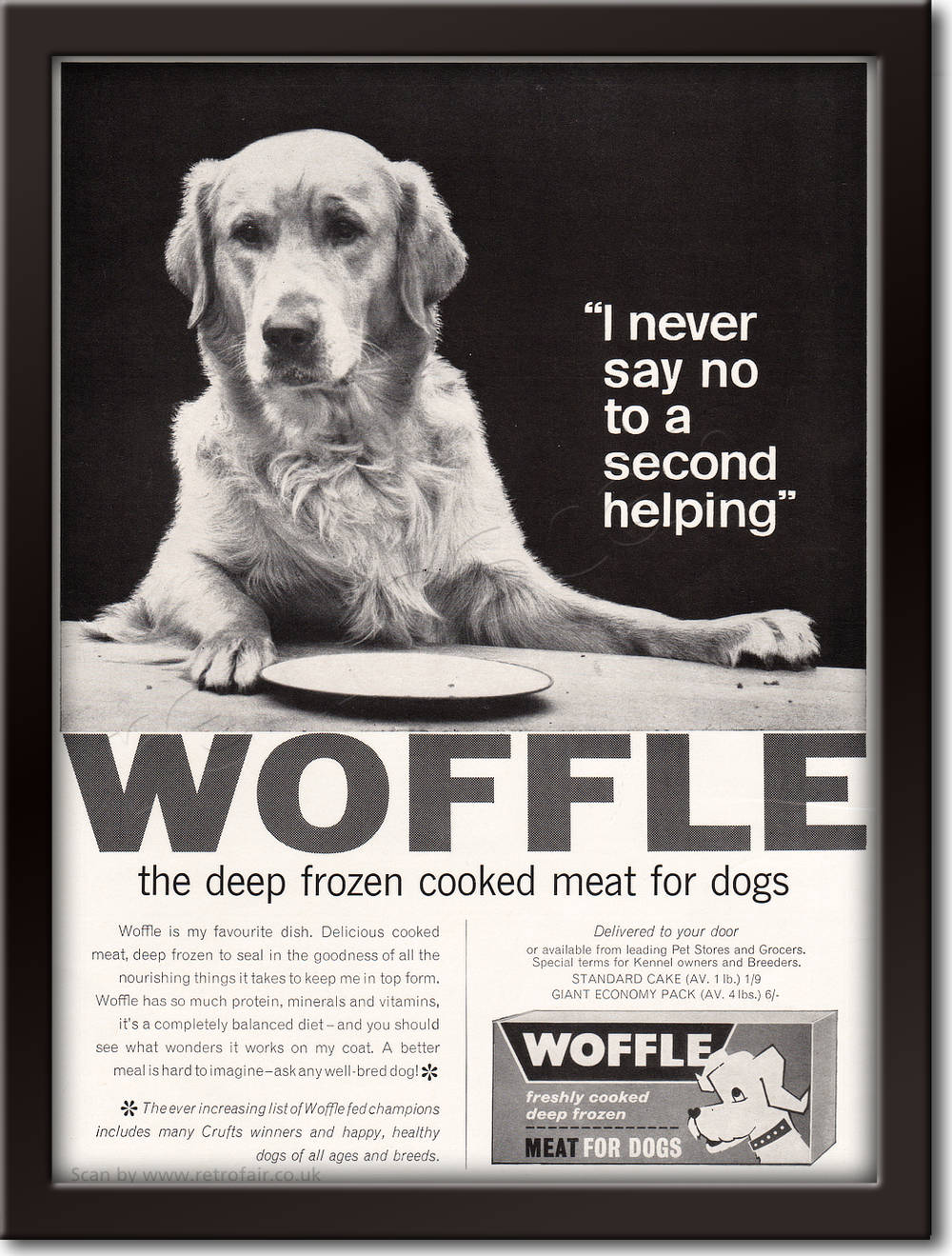 1964 Woffle Dog Food - framed preview retro