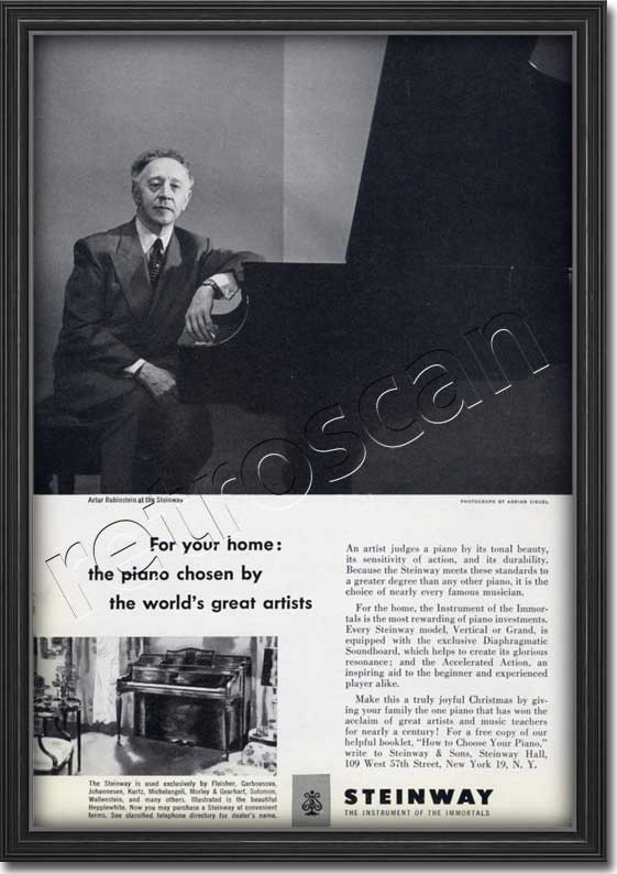 vintage 1951 Steinways Pianos Artur Rubinstein  advert