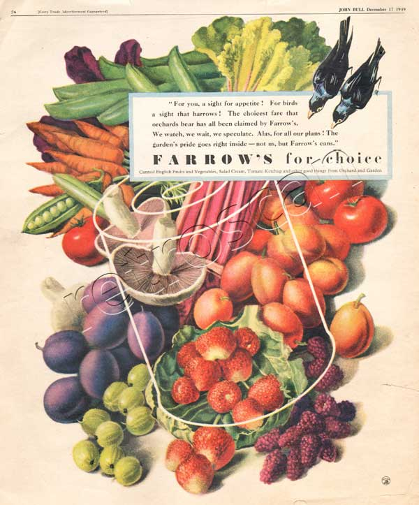 vintage 1949 Farrow's Fruit and Vegetables