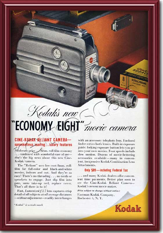 1949 vintage Kodak Economy Eight advert