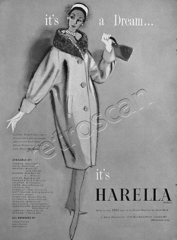 Vintage 1958 Harella Fashion ad