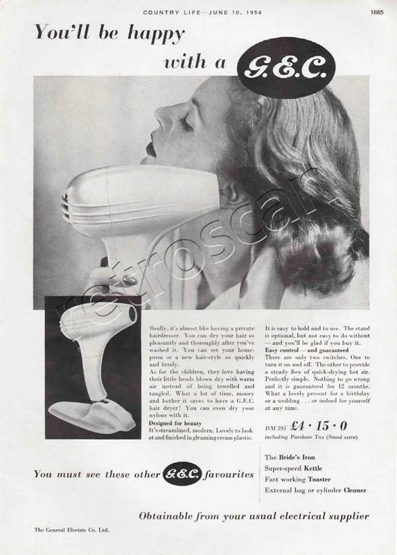 1954 GEC Hair Dryer  vintage ad