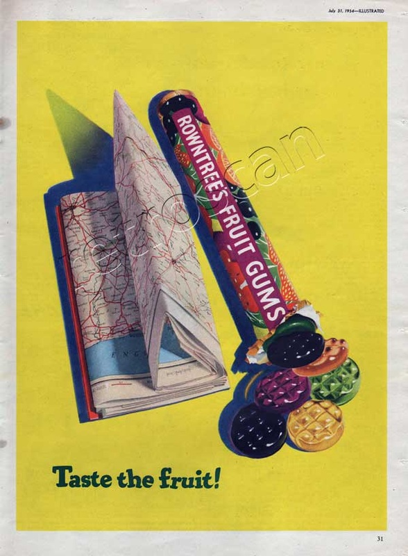 1954 vintage Rowntree's Fruit Gums with map
