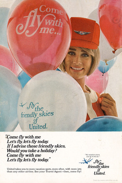 1969 United Airlines  - unframed vintage ad