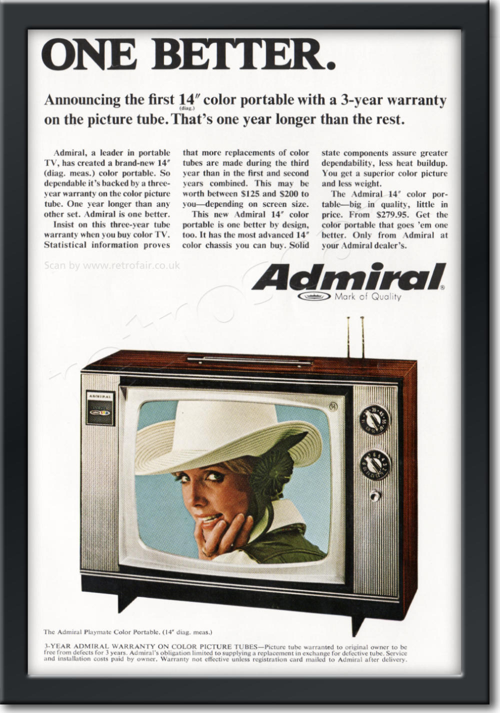 1968 Admiral Televisions - framed preview retro