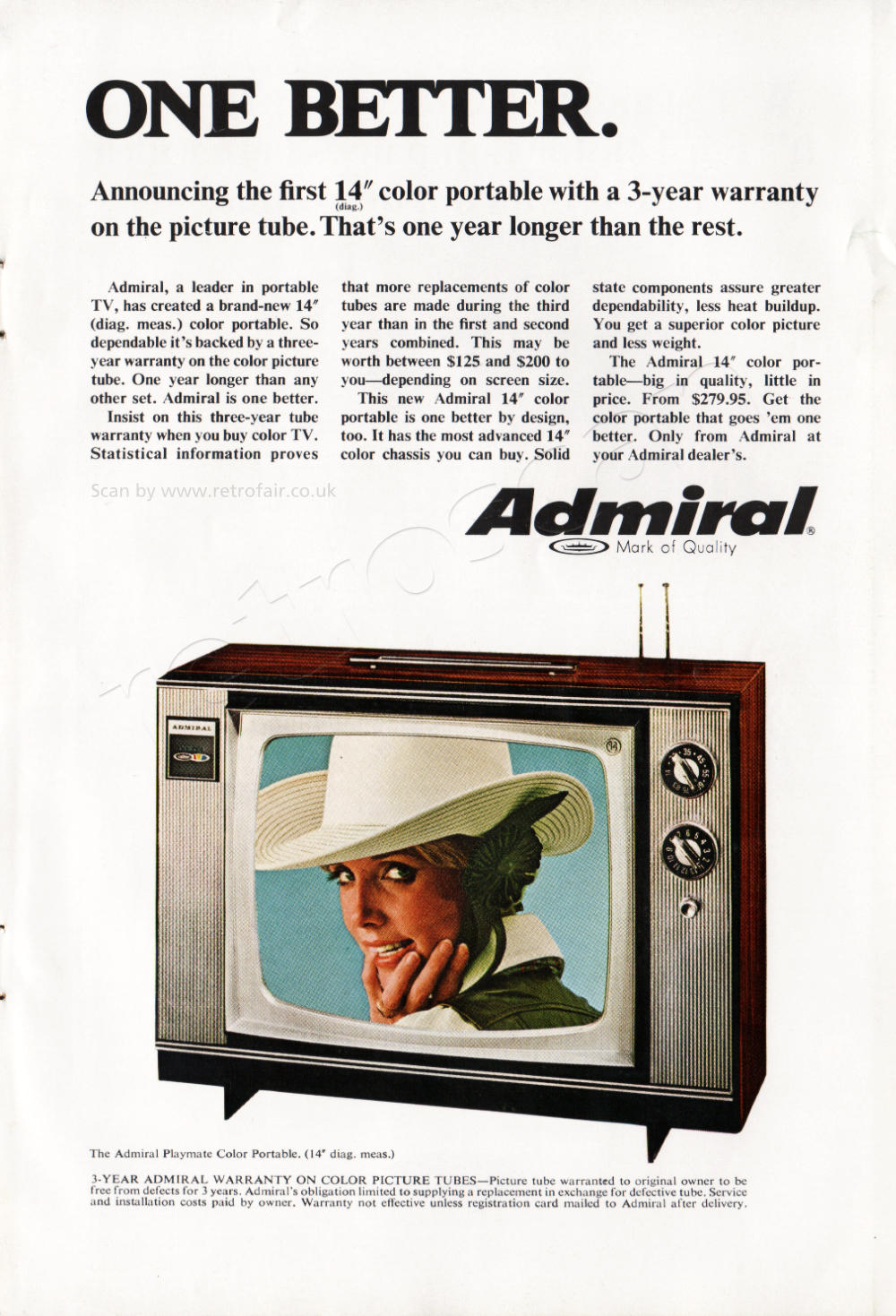 1968 Admiral Televisions - unframed vintage ad