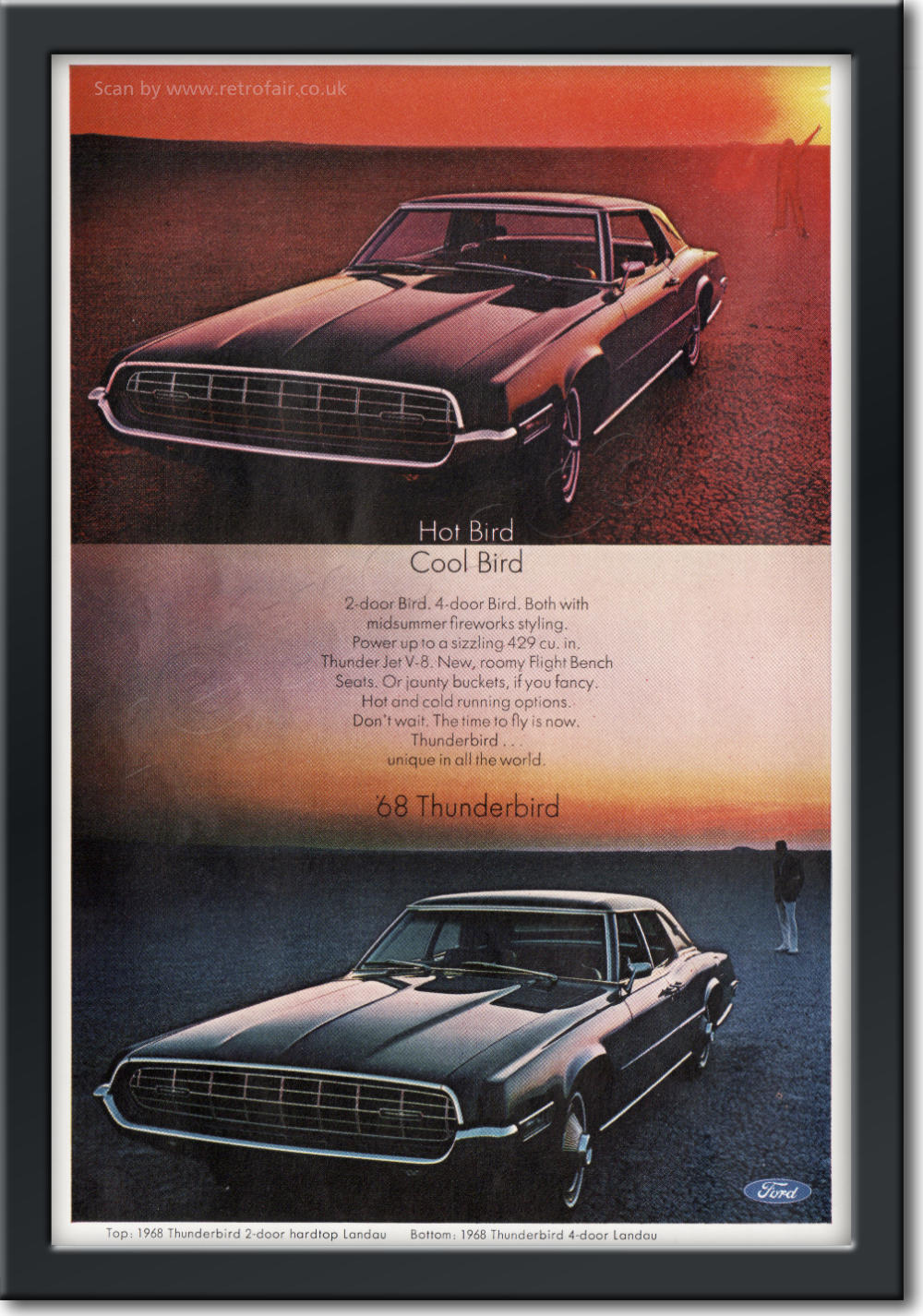 1968 Ford Thunderbird - framed preview vintage ad