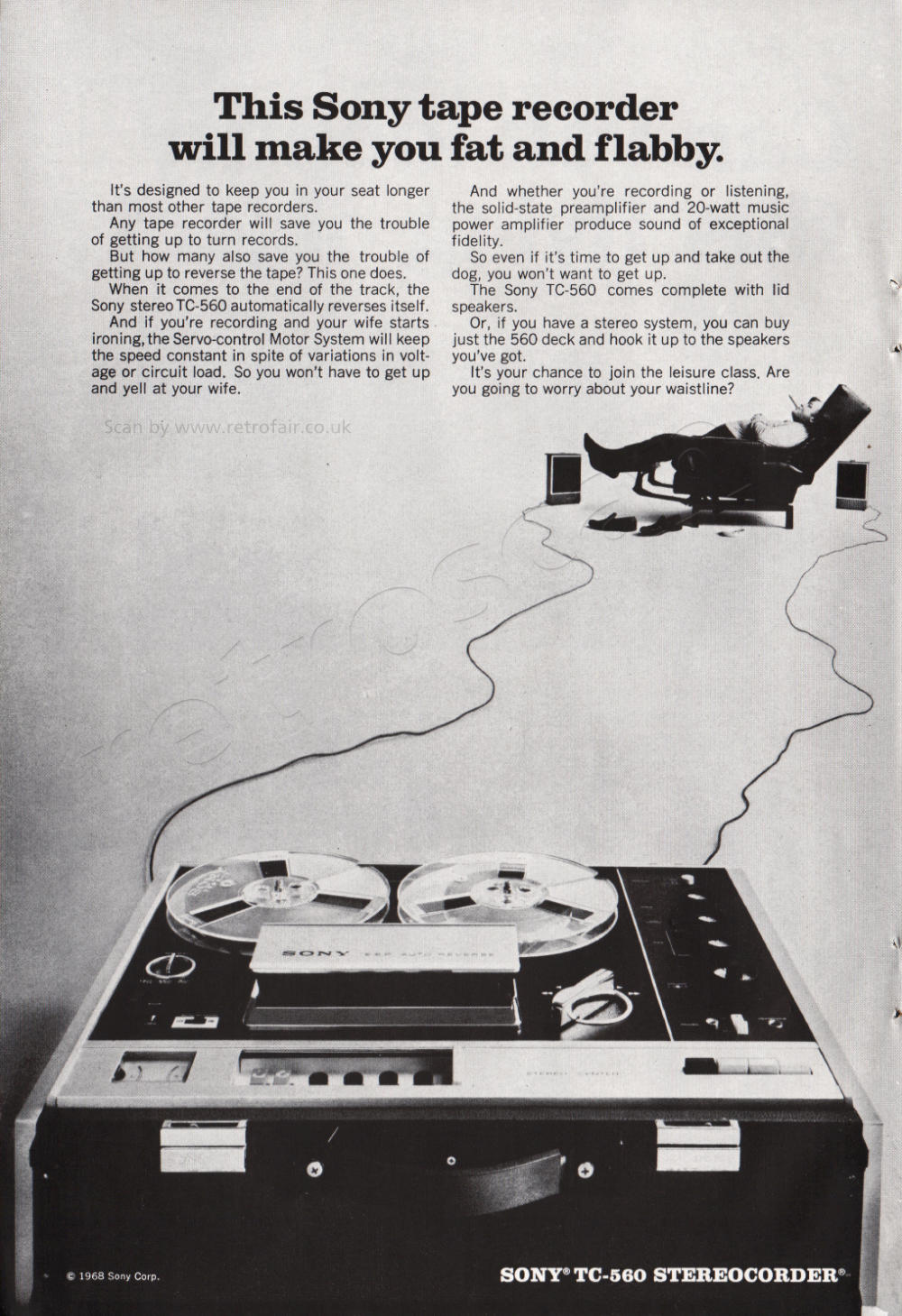 1968 Sony Tape Recorders - unframed vintage ad
