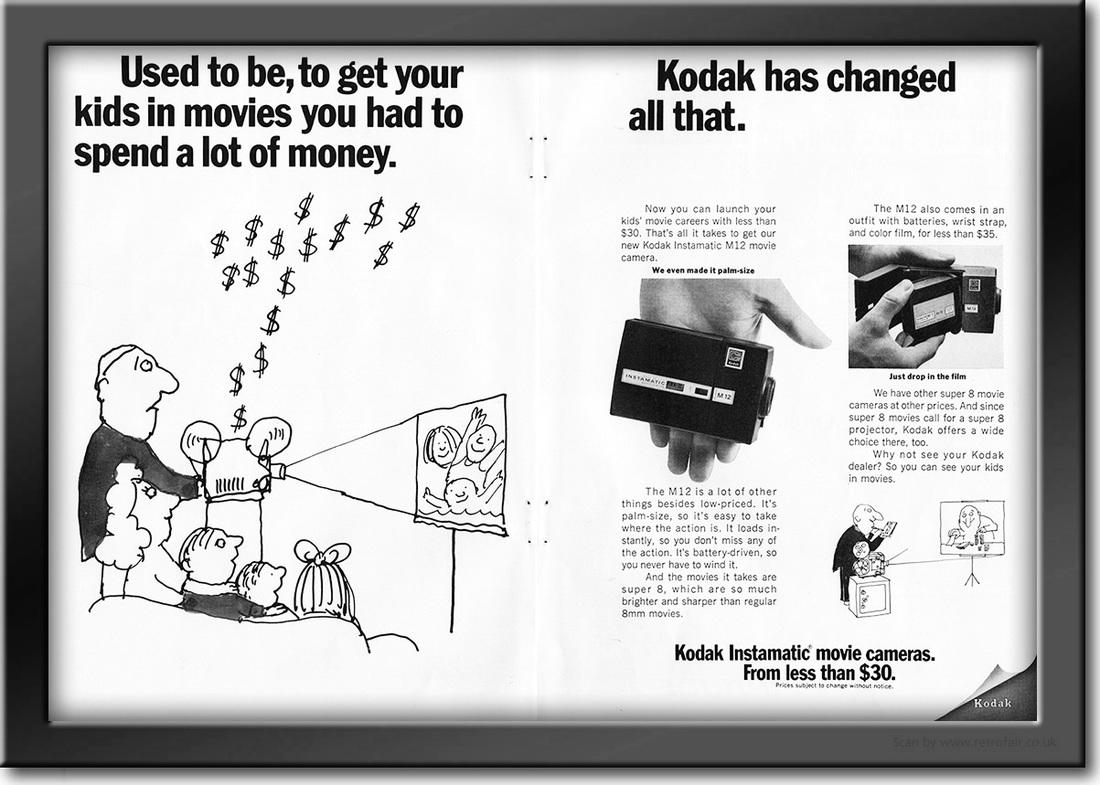 1969 Kodak Instamatic Movie Cameras - framed preview vintage ad