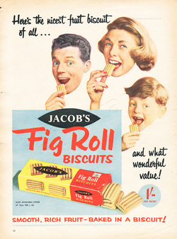 1958 Jacob's Fig Roll Biscuits - unframed vintage ad