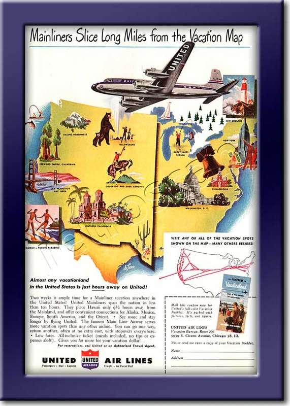 1949 vintage United Air Lines ad