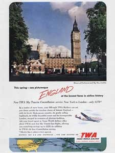 1952 TWA 'London' Big Ben - Vintage