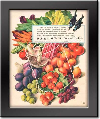 1949 Farrow's Fruit and Vegetables vintage ad