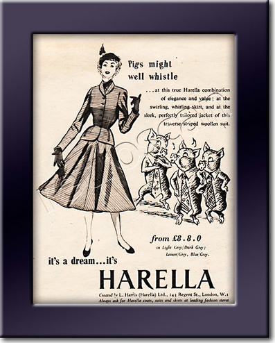 1952 Harella Fashion - framed preview vintage ad