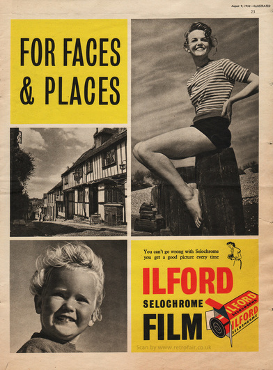 1952 Ilford Selochrome Film - unframed vintage ad