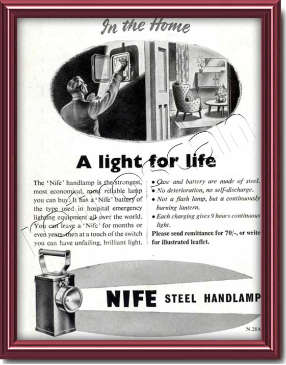 1950 vintage Nife Lamps Ad