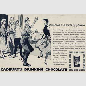 1955  Cadbury's Drinking Chocolate party - vintage ad