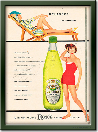 1958 Rose's Lime Juice - framed preview retro