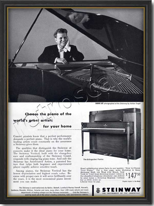 1953 vintage Steinways Pianos - Eugene List