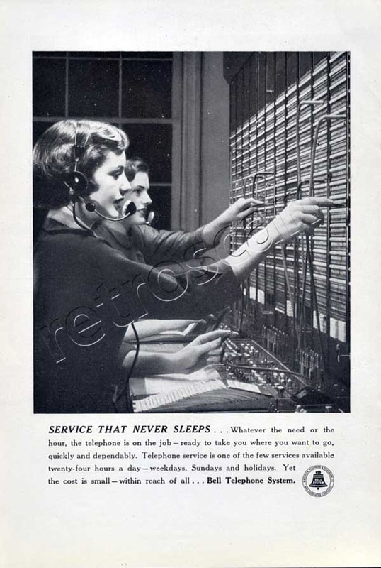 vintage 1950 Bell Telephone Service