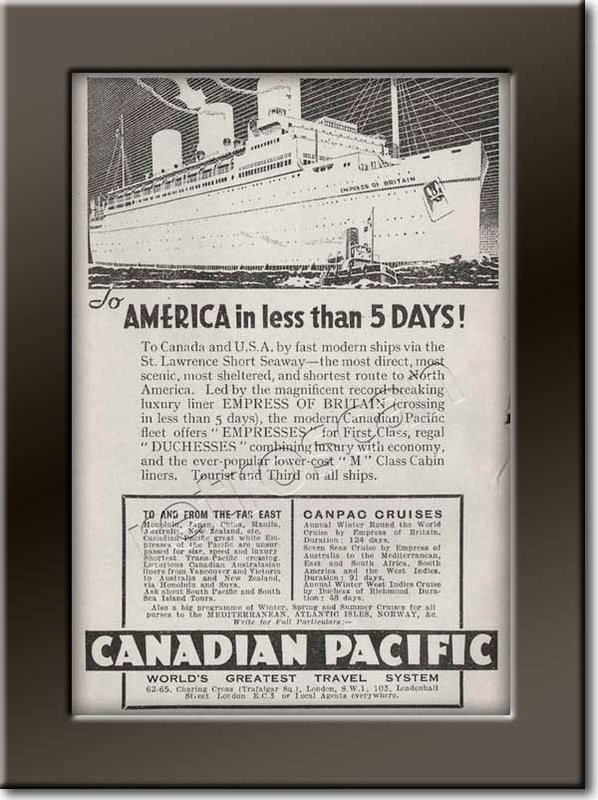 1935 vintage Canadian Pacific advert