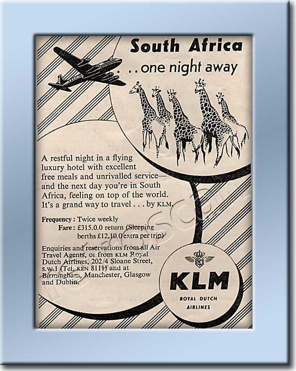 1950 KLM Air Line - framed preview - Vintage Ad