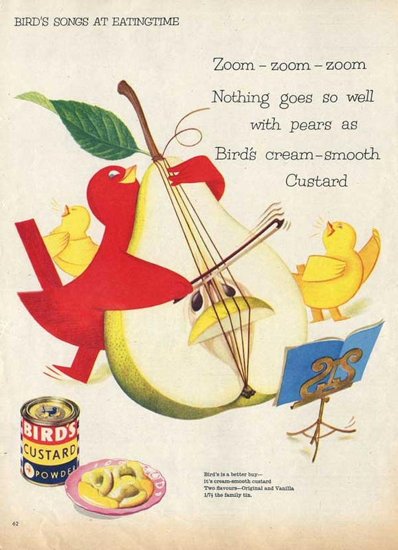1956 vintage Birds Custard Powder Retro Ad Bird Playing Cello Pear advert