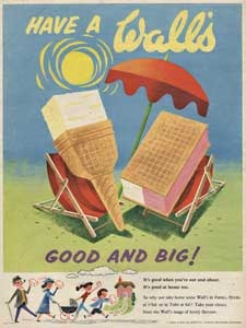 1955 Walls Ice cream Deck Chairs Vintage Ad