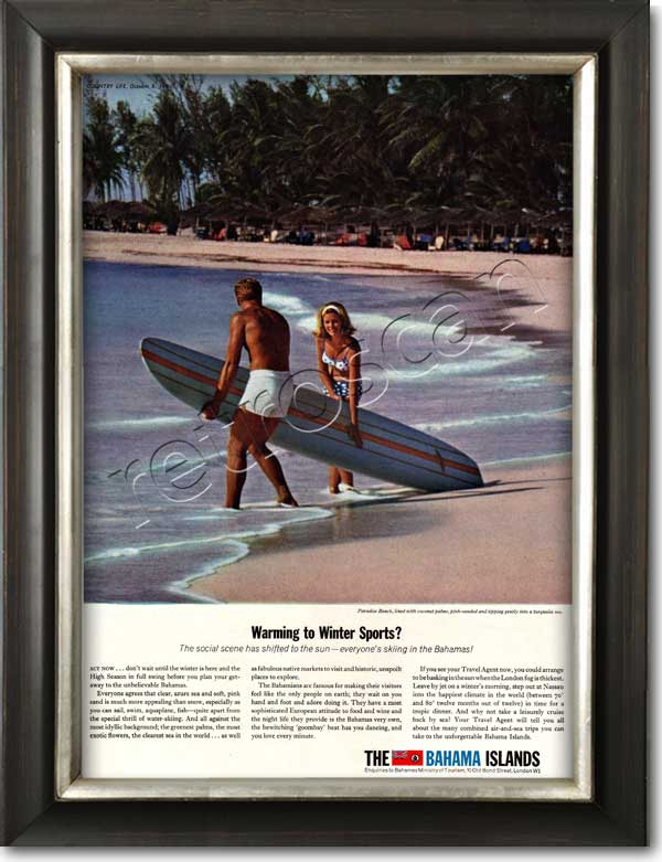 1964 vintage Bahama Islands Surfing advert