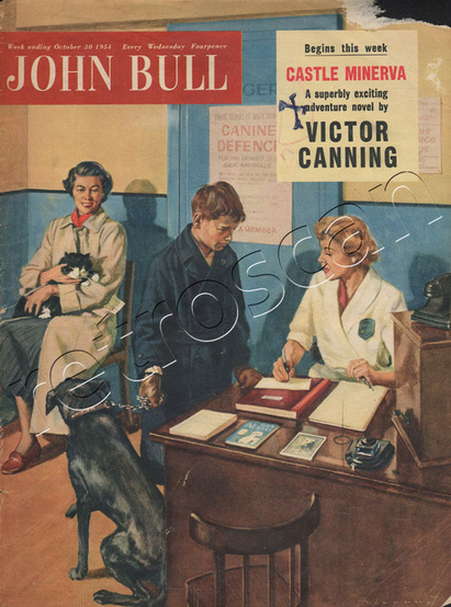 1954 John Bull Visit to the vets- unframed vintage magazine cover