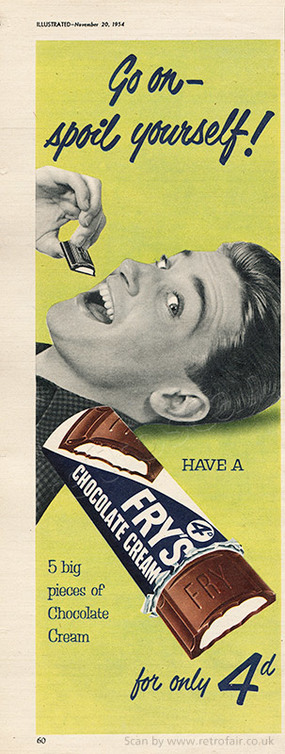 1954 Fry's Chocolate Cream - unframed vintage ad