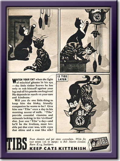 1951 Tibs Cat Vitamins  - framed preview vintage ad