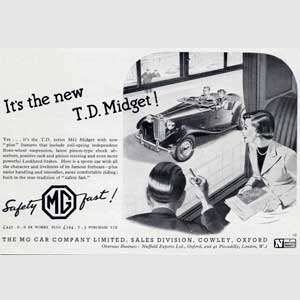 1950 MG Midget advert