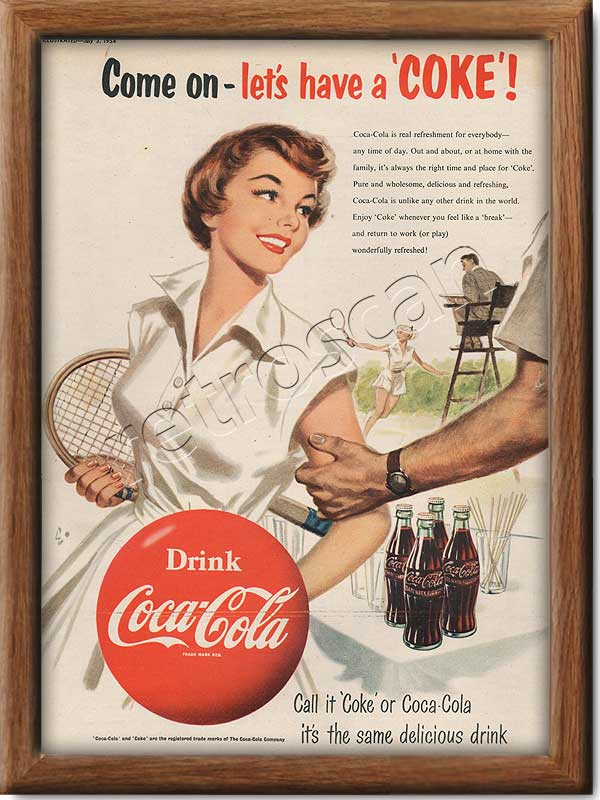 1954 Vintage Coca Cola Tennis Ad - framed preview