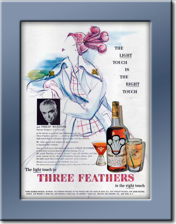 vintage 1949 Three Feathers Whiskey