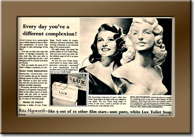1954 Lux Toilet Soap (Rita Hayworth)  - framed preview vintage