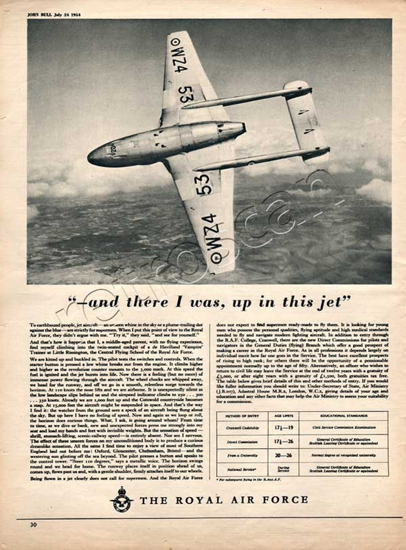 1954 Royal Air Force Recruitment de Havilland 'Vampire'