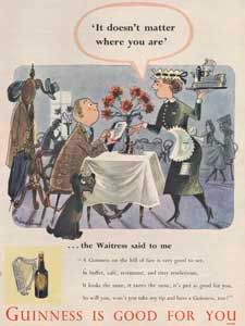 1953 Guinness Waitress Vintage Ad
