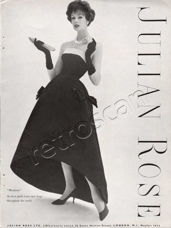 1958 Julian Rose Couture - unframed vintage ad